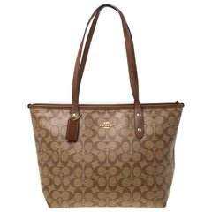 Coach Brown Signature Coated Canvas City Zip Tote