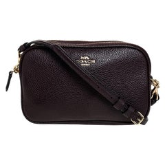 Coach Burgundy Leather Camera Crossbody Bag
