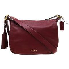Coach Burgundy Tassel Leather Flap Shoulder Bag