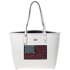 Coach Cream Flag Coated Canvas and Leather Reversible City Tote