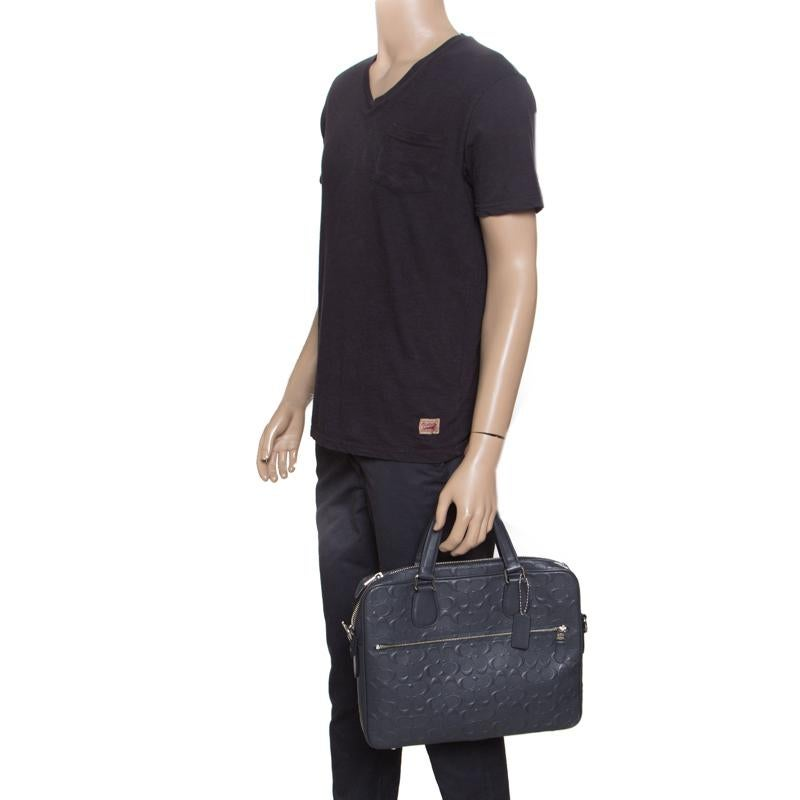 Coach Dark Blue Coated Canvas Hudson Slim Laptop Bag