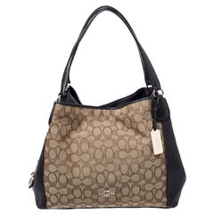 Coach Dark Brown/Beige Signature Canvas and Leather Lexy Shoulder Bag