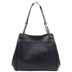 Coach Dark Navy Blue Pebbled Leather Turnlock Edie Womens Bag 36855