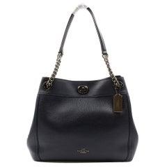 Coach Dark Navy Blue Pebbled Leather Women's Turnlock Edie Bag 36855 DKNY