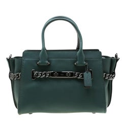 Coach Deep Green Leather Swagger 27 Satchel