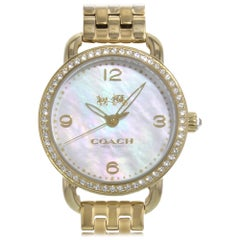 Coach Delancey Mother of Pearl Dial Ladies Gold Tone Steel Quartz Watch 14502478