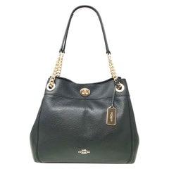 Coach Edie 36855 LIBLK Turnlock Pebbled Black Ladies Shoulder Bag