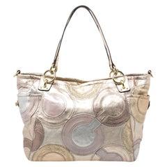 Coach Gold Monogram Leather Shoulder Bag