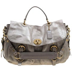 Coach Grey Glazed Leather Double Pocket Top Handle Bag with Wallet