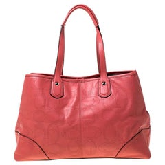 Coach Light Orange Leather Perforated Tote