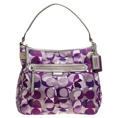 Coach Lilac Signature Canvas and Leather Hobo