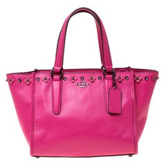 Coach Magenta Studded Floral Leather Crosby Tote