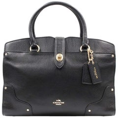 Coach Mercer 30 Leather black Gold Tone Hardware Satchel Womens Bag 37575