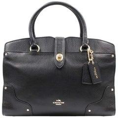 Coach Mercer 30 Leather black Gold Tone Hardware Satchel Womens Bag 37575