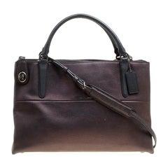 Coach Metallic Black Leather Borough Top Handle Bag
