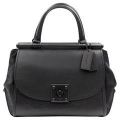 Coach Mixed Leather Drifter Carryall Leather Black Womens Bag 38389