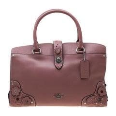 Coach Nude Pink Flower Embellished Leather Mercer 30 Satchel