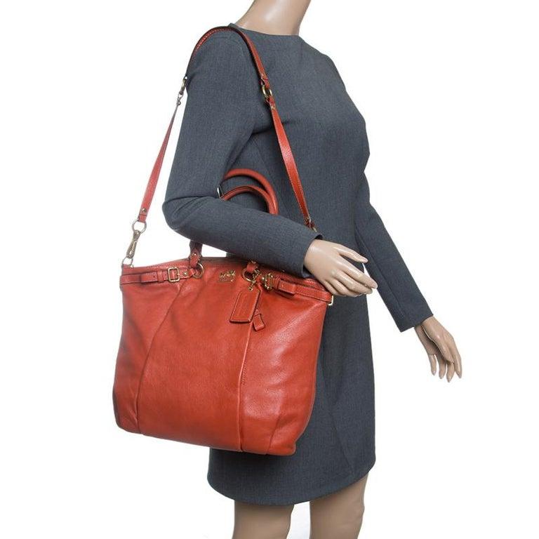 Pink Coach Orange Leather Satchel For Sale