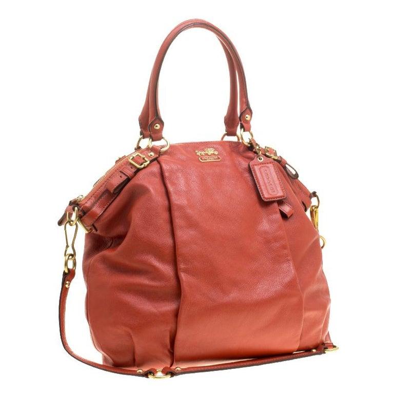Coach Orange Leather Satchel In Excellent Condition For Sale In Dubai, Al Qouz 2