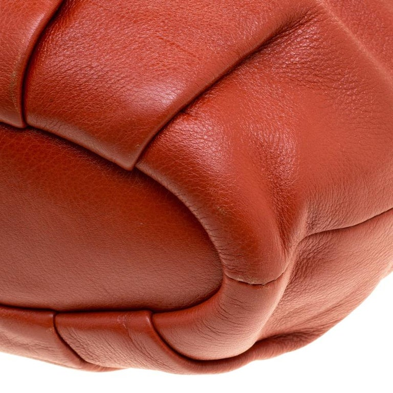 Coach Orange Leather Satchel For Sale 2