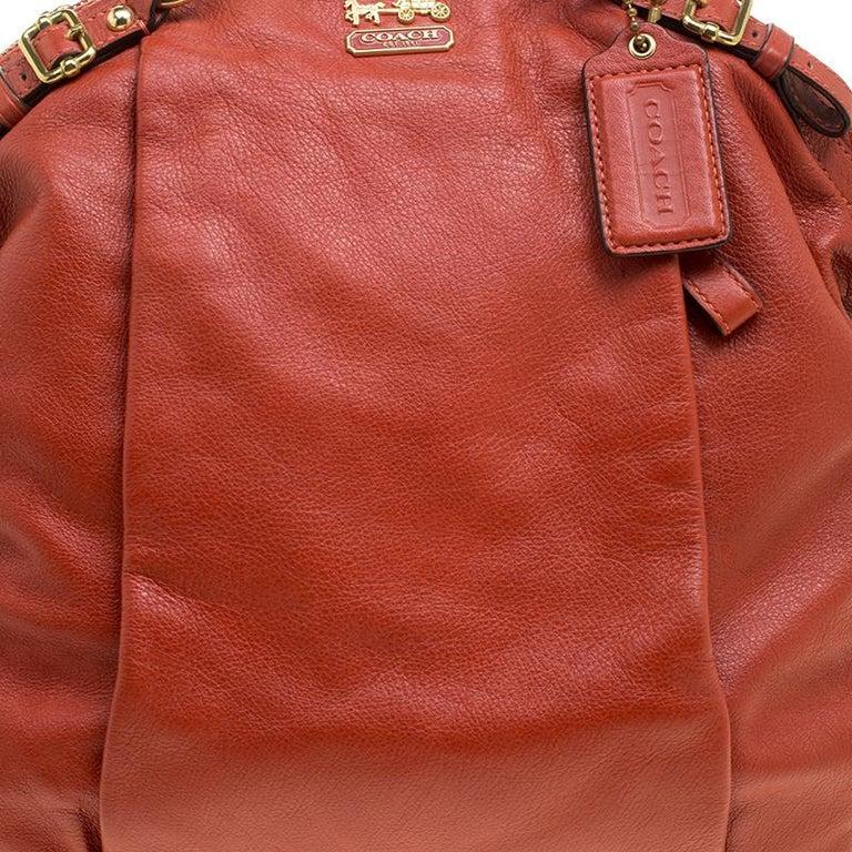 Coach Orange Leather Satchel For Sale 3