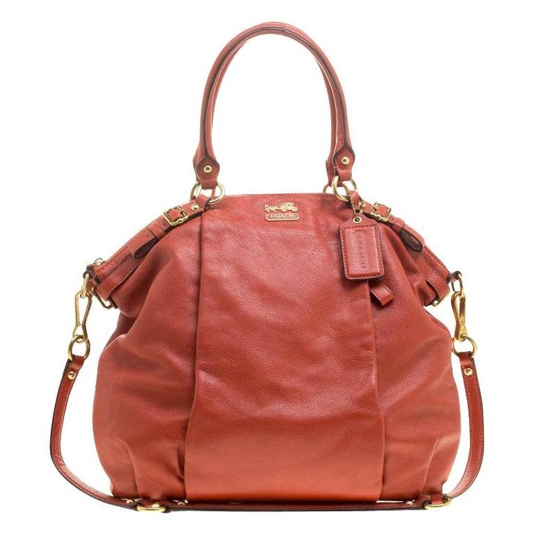 Coach Orange Leather Satchel For Sale