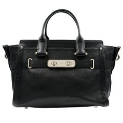 Coach Pebble Leather Swagger Bag Satchel Black Silver Hardware Ladies Bag 34408
