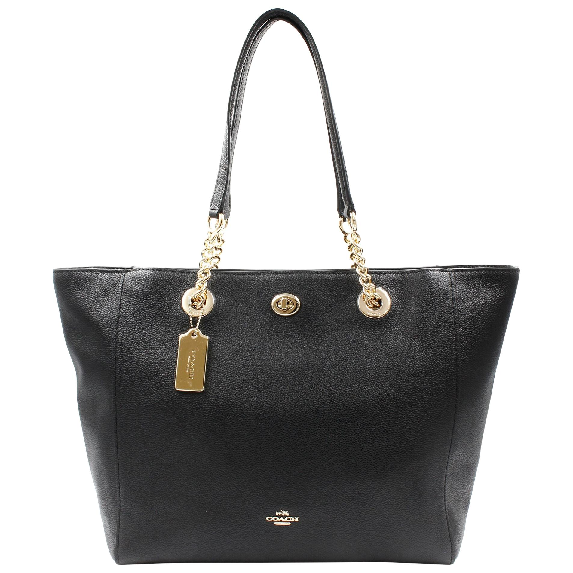 Coach Pebbled Turnlock Chain Black Leather Tote Womens Bag 56830