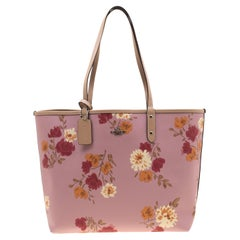 Coach Pink/Beige Floral Print And Signature Coated Canvas Reversible City Tote