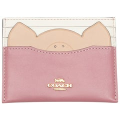 Coach Pink & White Leather Animal Card Holder