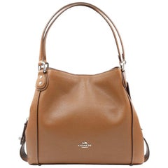 Coach Polished Pebbled Edie 31 Brown Calfskin Leather Womens Shoulder Bag 57125