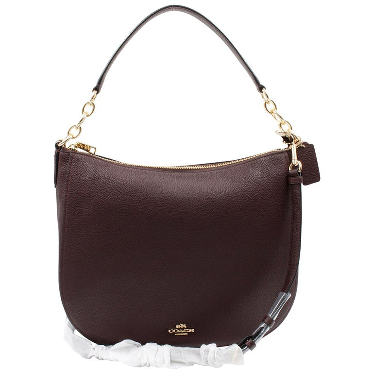 Coach Polished Pebbled Leather Chelsea 32 Burgundy Women S