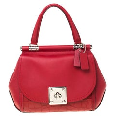 Coach Red Leather Drifter Carryall In Mixed Top Handle Bag