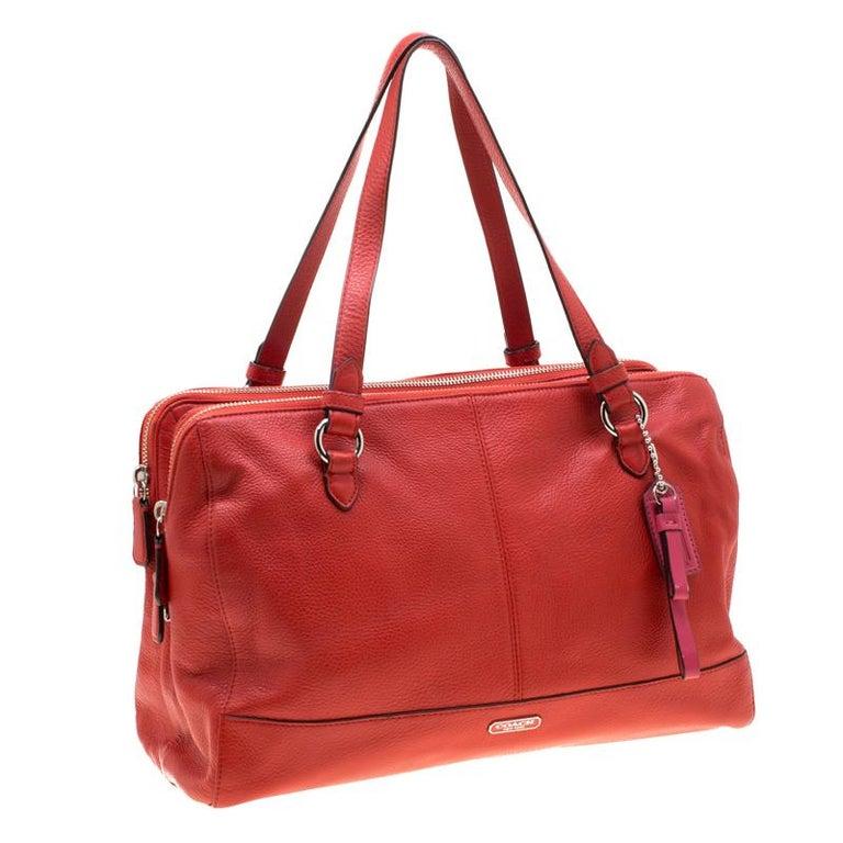 Women's Coach Red Leather Katheryn Triple Zipper Satchel For Sale
