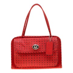 Coach Red Printed Leather Cady Crossbody Bag