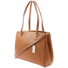 Coach Stanton Carryall Brown Crossgrain Saddle Leather Women Bag 37148 SV/SD