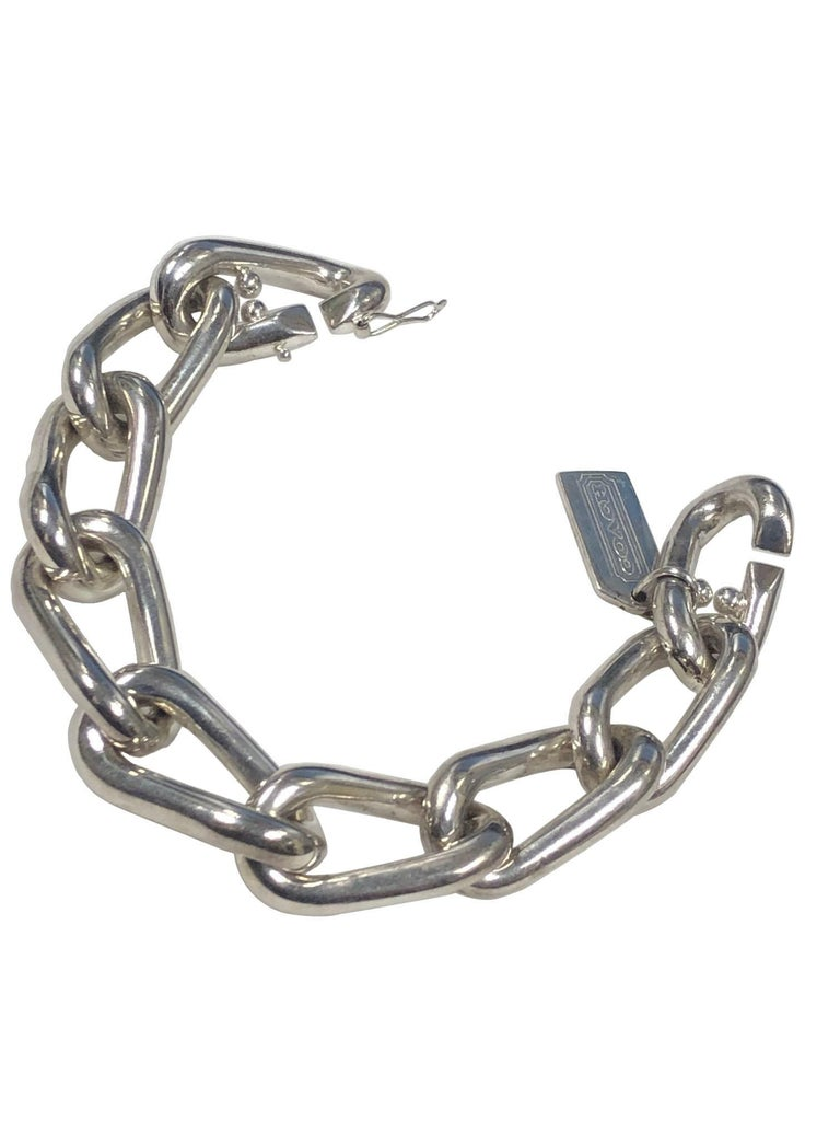 Coach Sterling Silver Large Heavy Link Bracelet In Excellent Condition For Sale In Chicago, IL