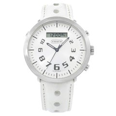 Coach Swiss Steel Leather Silver Dial Analog and Digital Unisex Watch 14600618
