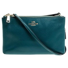 Coach Teal Leather Double Zip Crossbody Bag