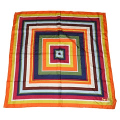 Coach Vivid Colorful MultiColor Overlapping Squares Silk Scarf