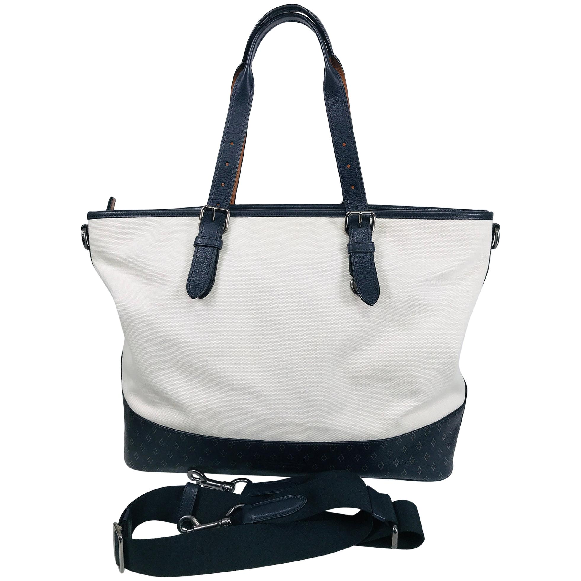 Coach White Canvas Black Leather Trim With Black & Tan Printed Tote Bag