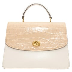 Coach White & Cream Leather & Suede Flap Bag