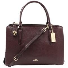 Coach Womens Pebbled Brooklyn 34 Carryall Oxblood Leather Bag 5726