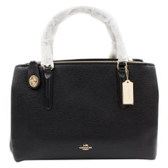Coach Womens Pebbled Leather Brooklyn 34 Carryall 57276 BLK