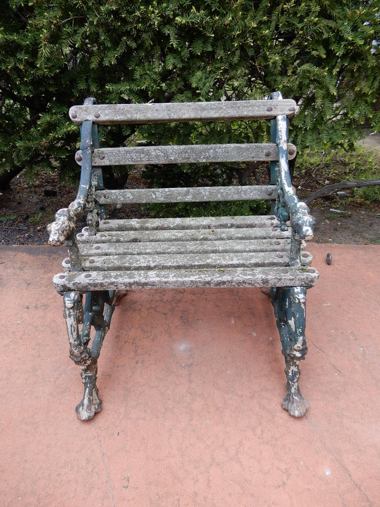 A late 19th century cast iron and wood seat garden chair by Coalbrookdale