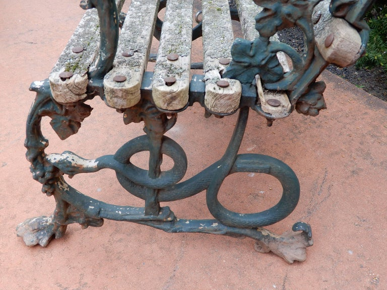 English Coalbrookdale Antique Cast Iron Garden Chair For Sale