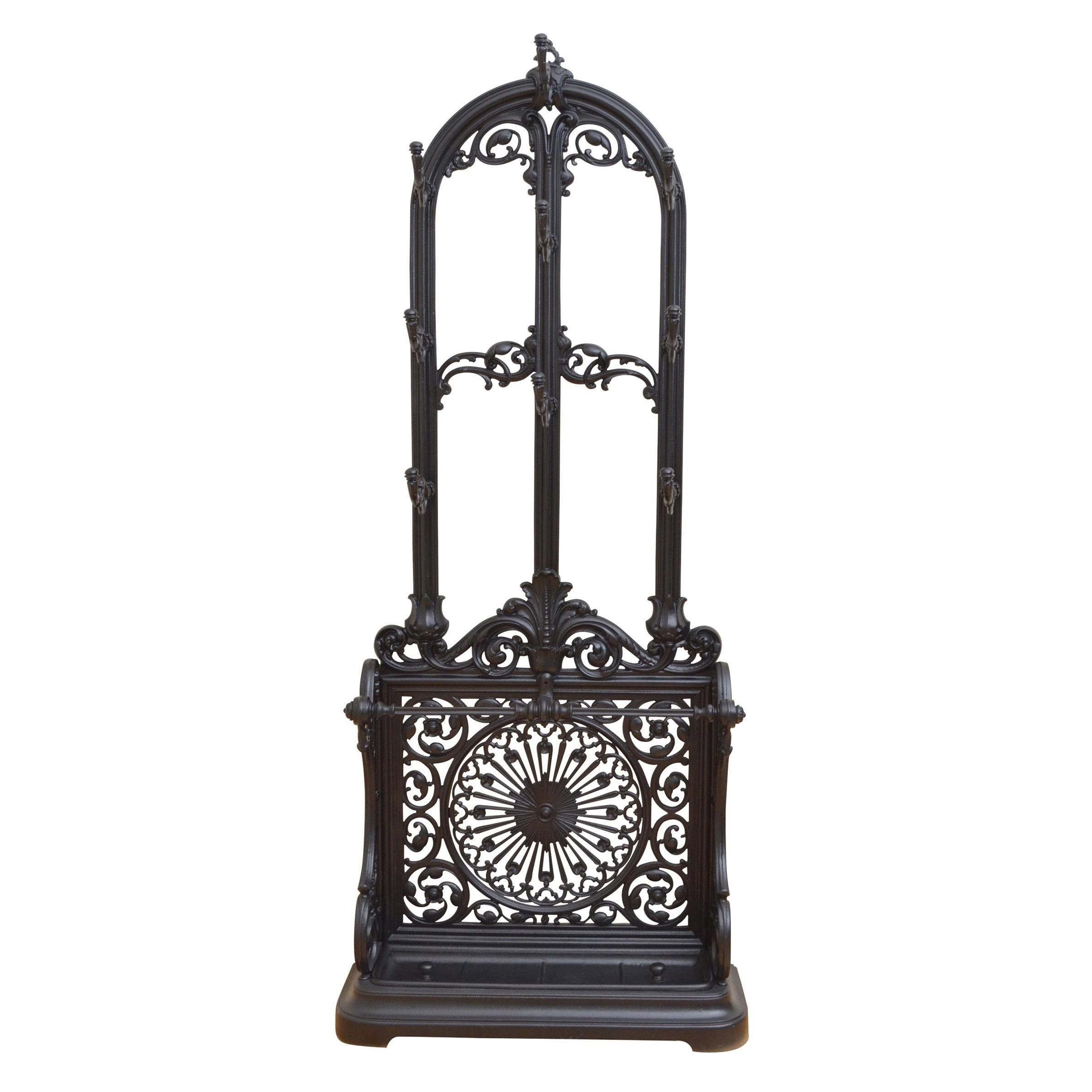 Coalbrookdale Style Cast Iron Hall Stand