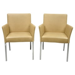 Coalesce Steelcase Beige Leather Model 1510 Switch Guest Arm Chair 'A', a Pair