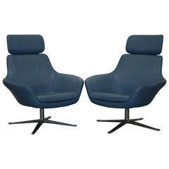 Coalesse Bob Lounge Leather Armchairs Pair, Exclusive by Pearson Lloyd
