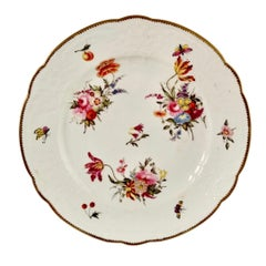 Coalport Blind Moulded Porcelain Plate, White, Flowers and Butterflies, ca 1815